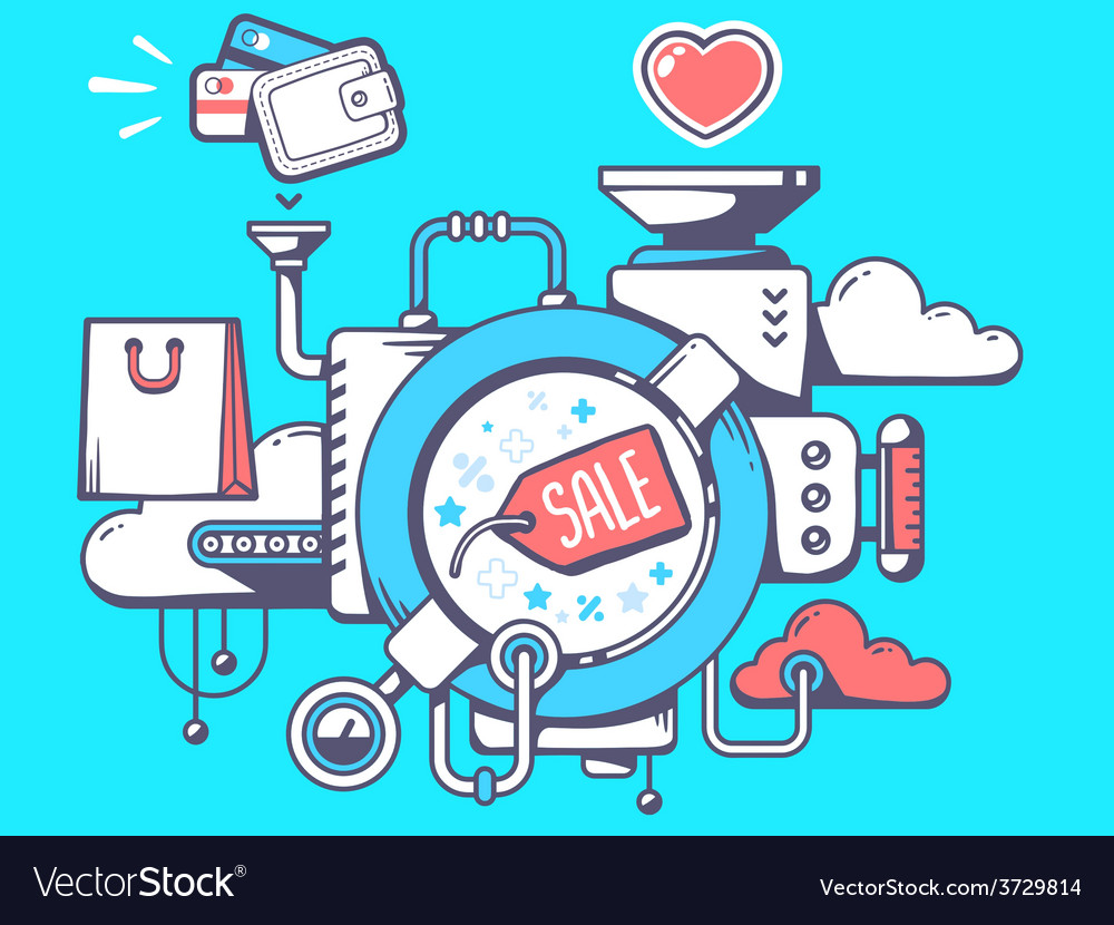 Mechanism with label sale and shopping ic vector