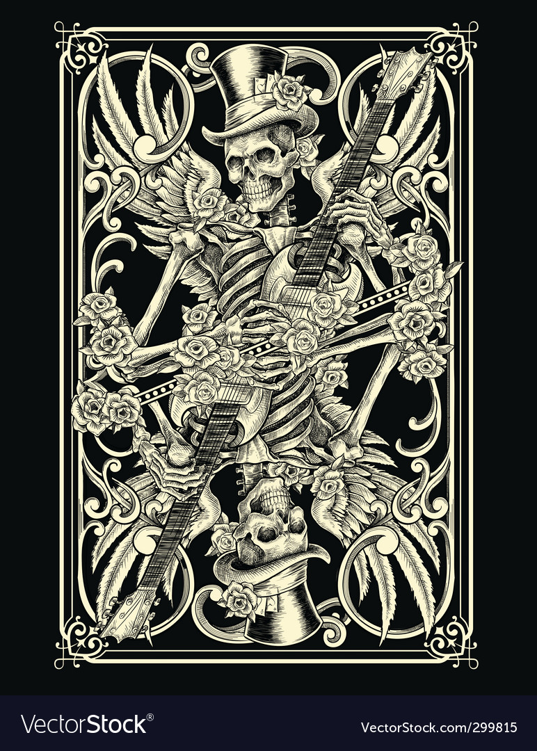 Skeleton playing card vector