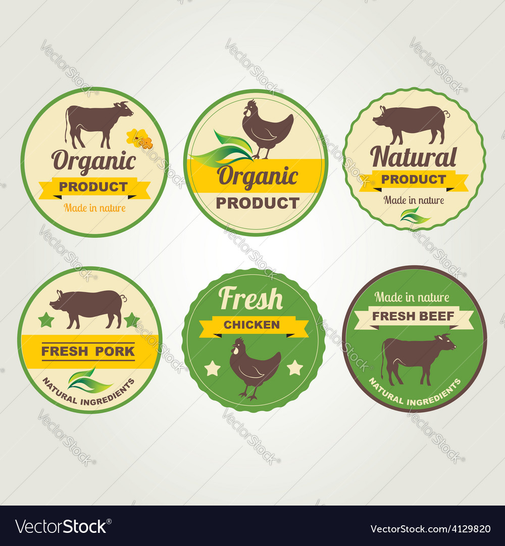 Badges beef chicken and pork organic product vector