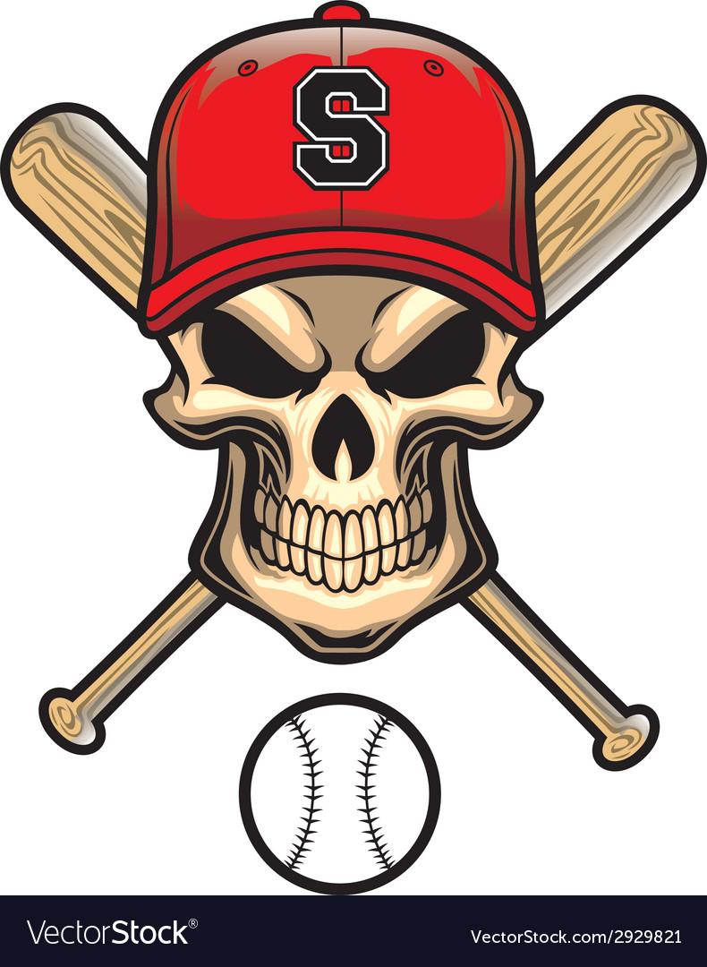 Skull wear a baseball hat vector