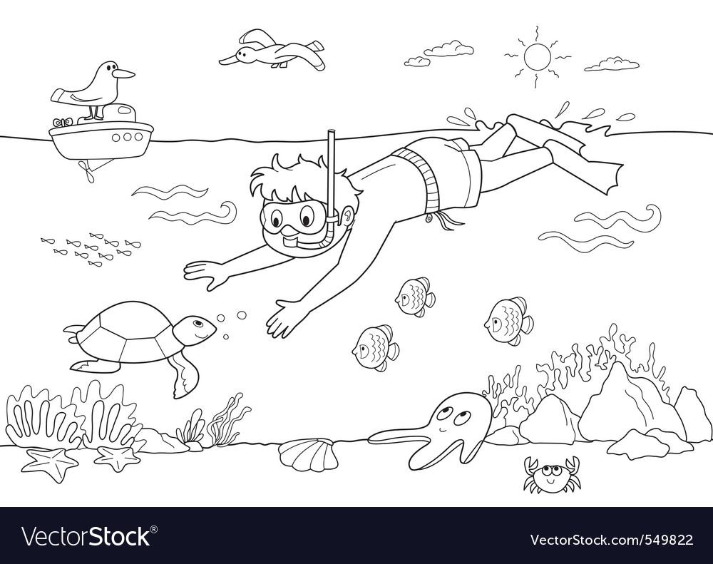 Child underwater vector