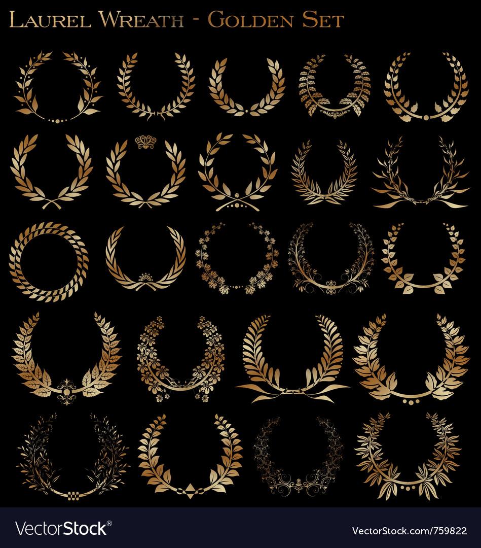 Laurel wreath - golden set vector