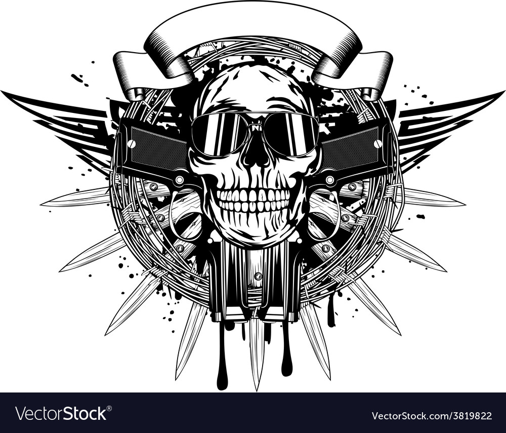 Skull in sunglasses and two pistols vector