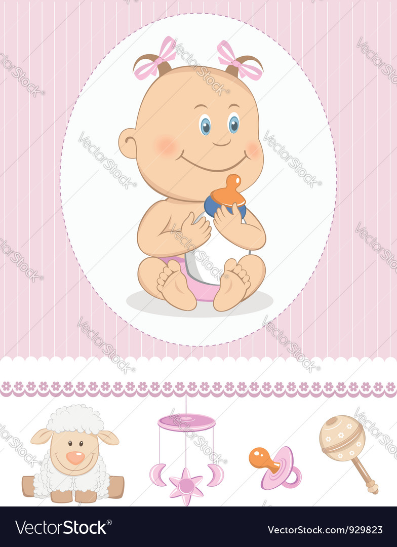 Cartoon girl with milk bottle vector