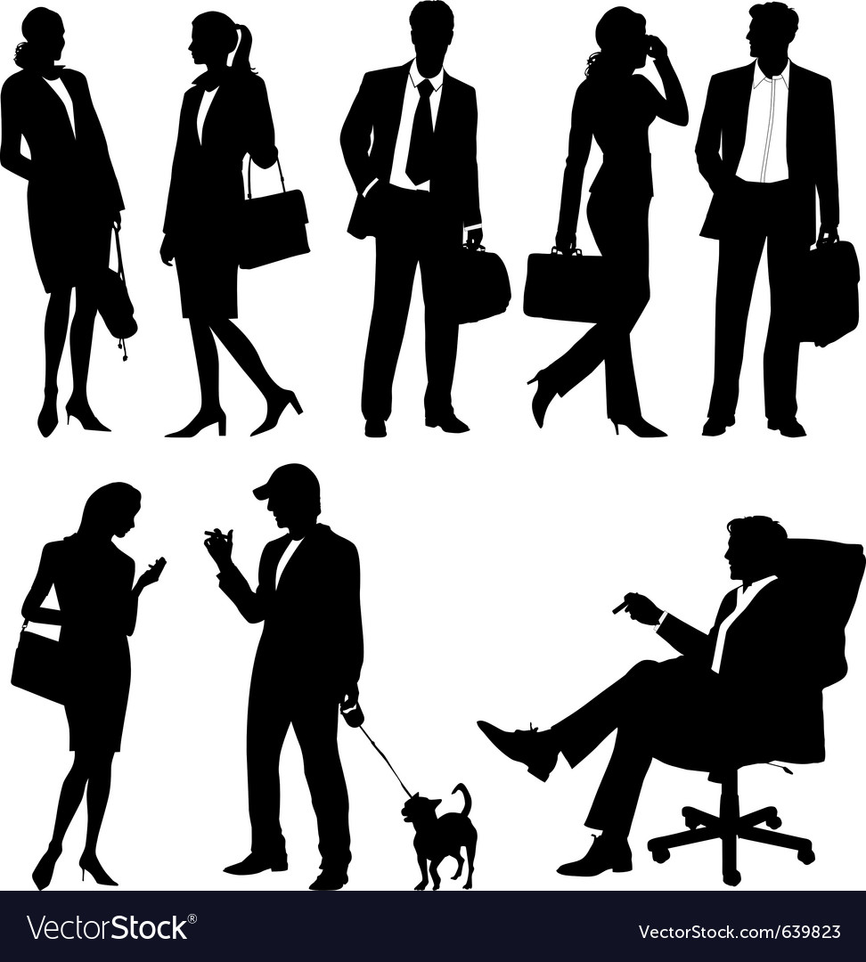Global business team - silhouettes vector
