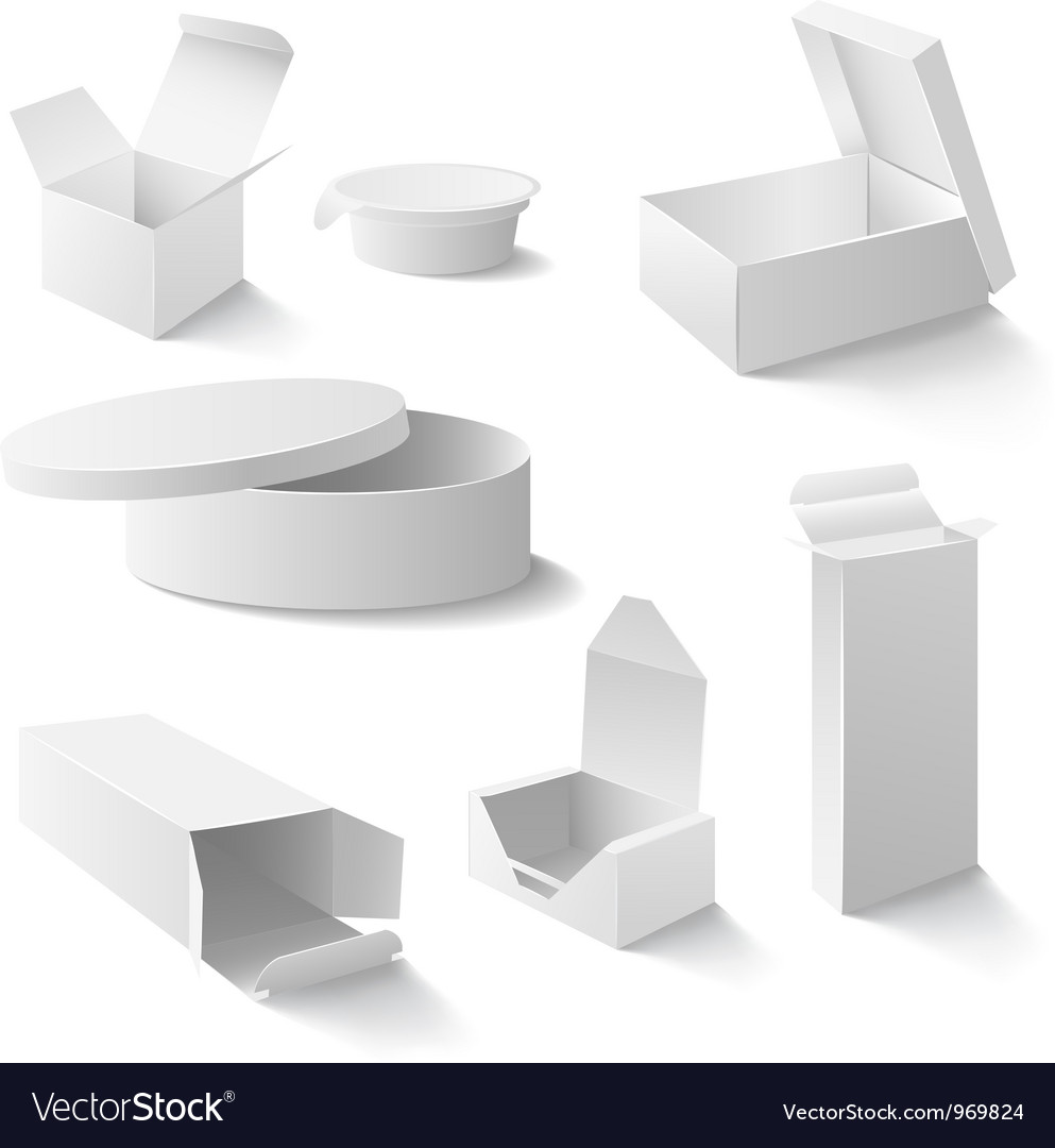 White boxes set vector