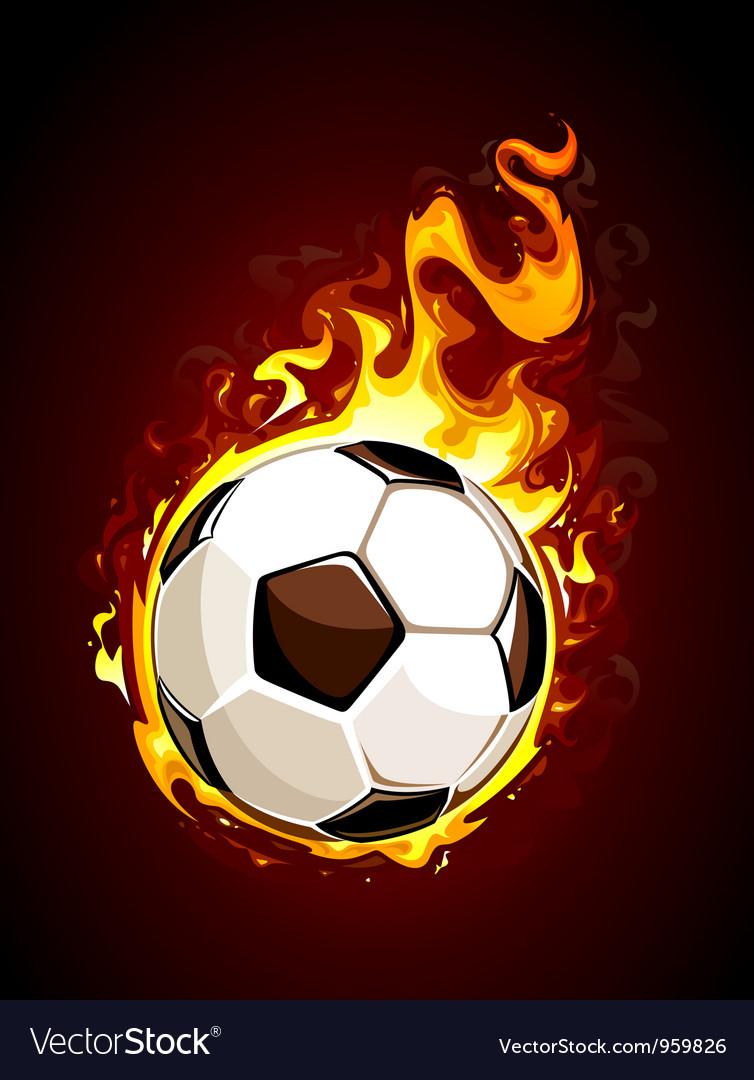 Burning soccer ball vector