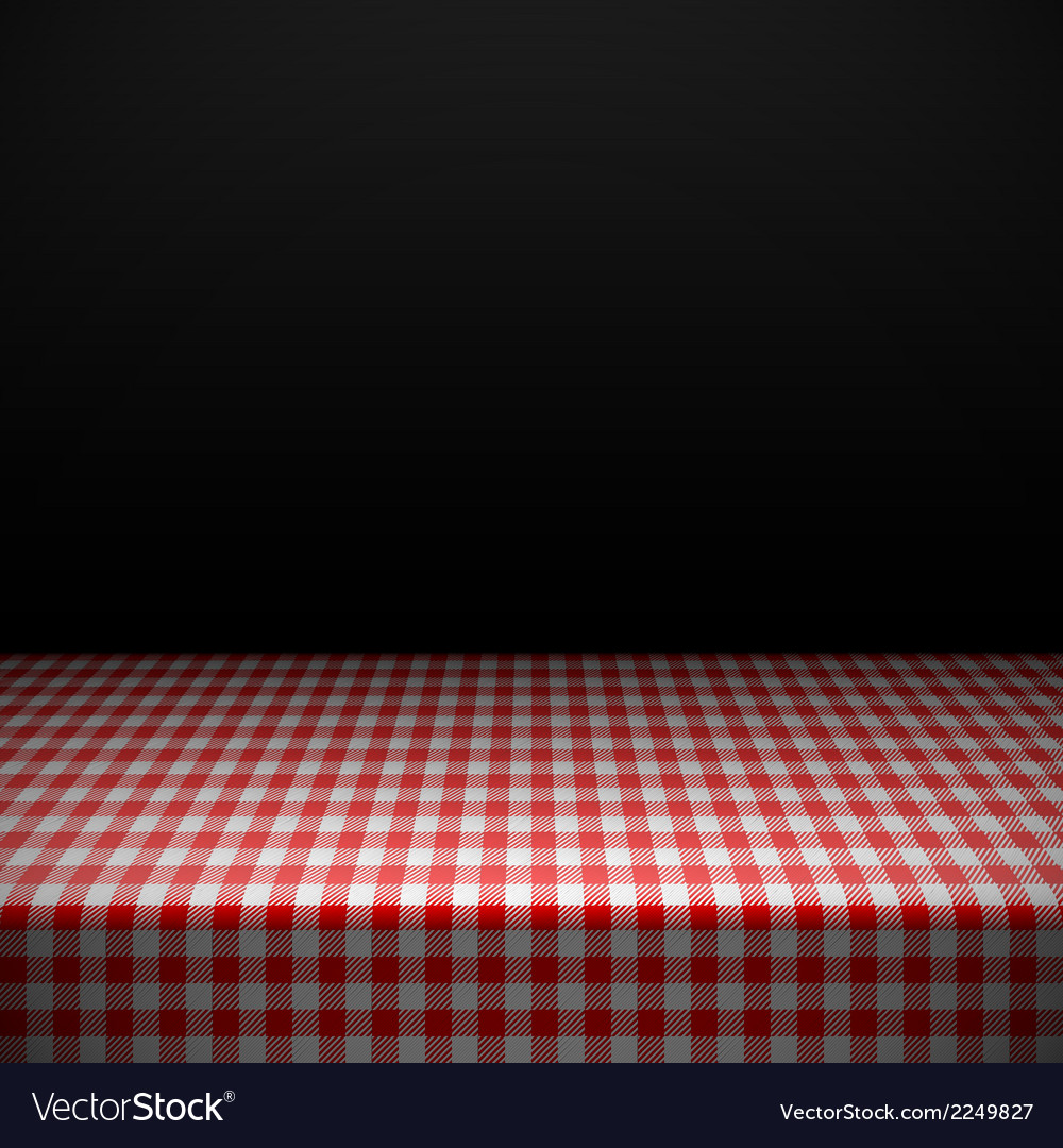Table covered with checkered tablecloth vector