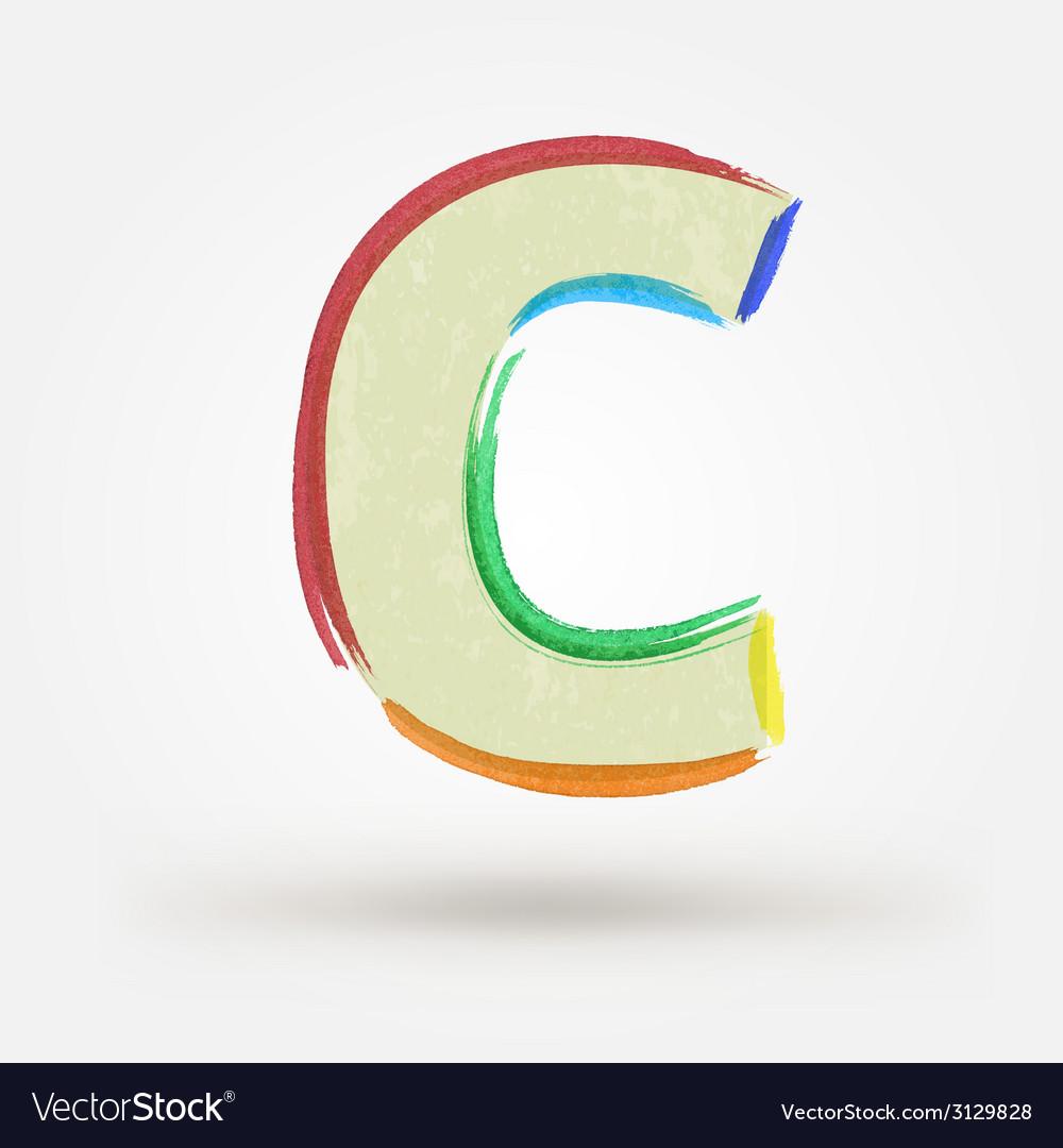 Alphabet letter c watercolor paint design element vector