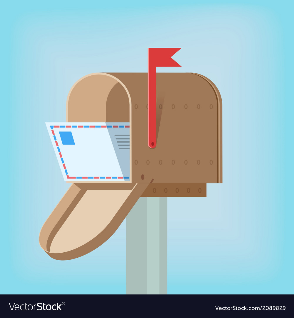 Postal box with letter vector
