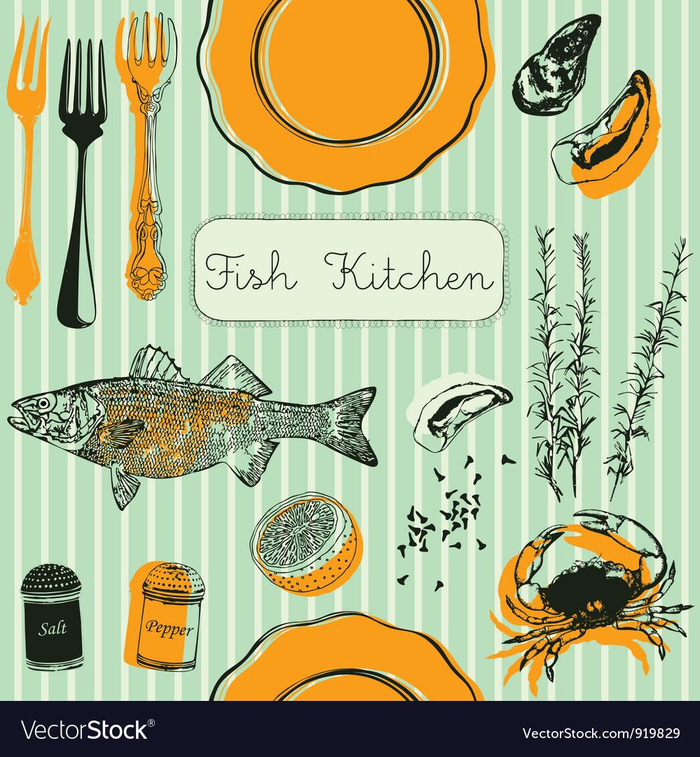 Retro fish kitchen pattern background vector