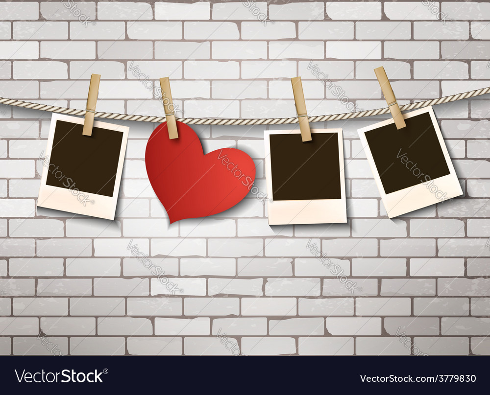 Background with heart and photos valentines day vector