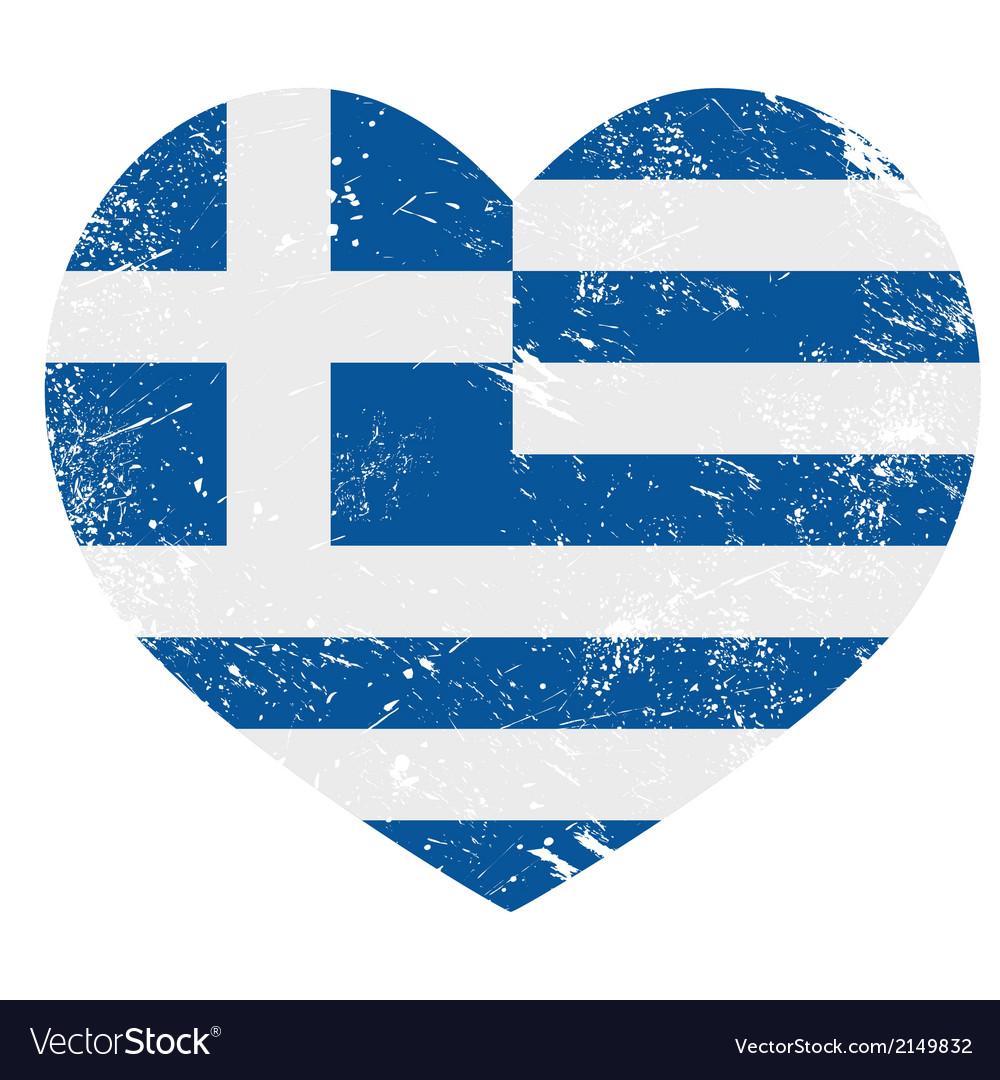 Greece heart love retro flag vector
