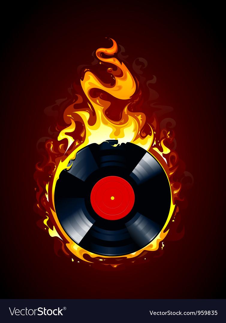 Burning vinyl record vector
