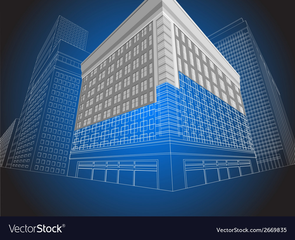 Residential wireframe building vector