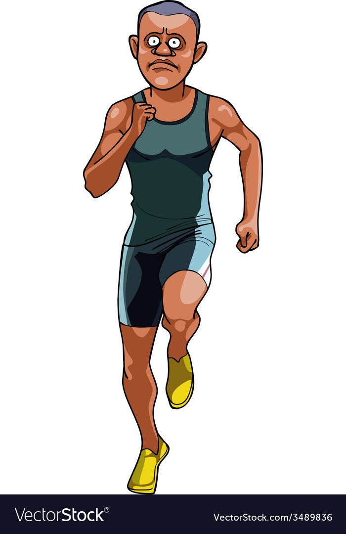 Cartoon man in sportswear running front view vector
