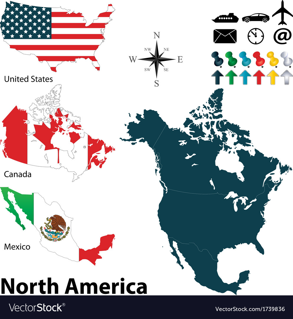 Maps with flags of north america vector