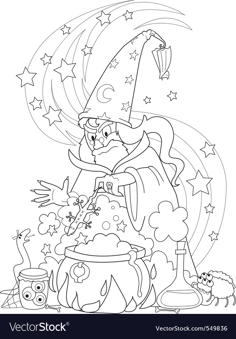 Wizard making a potion vector