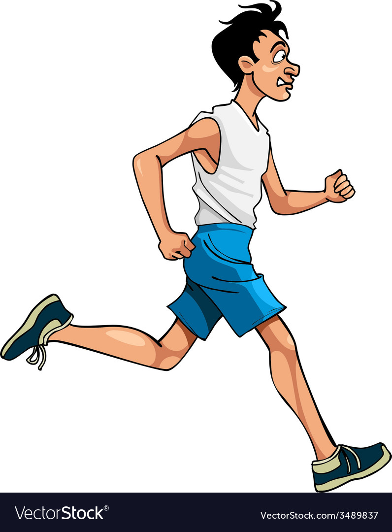 Cartoon man in sportswear running side view vector