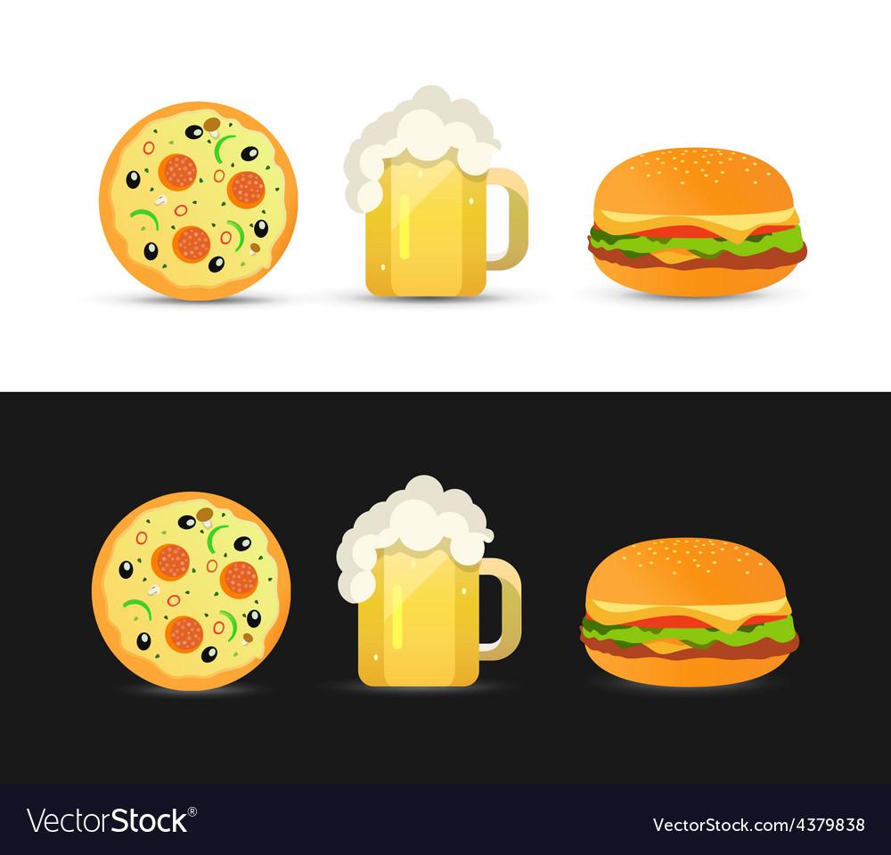 Tasty pizza beer and hamburger vector