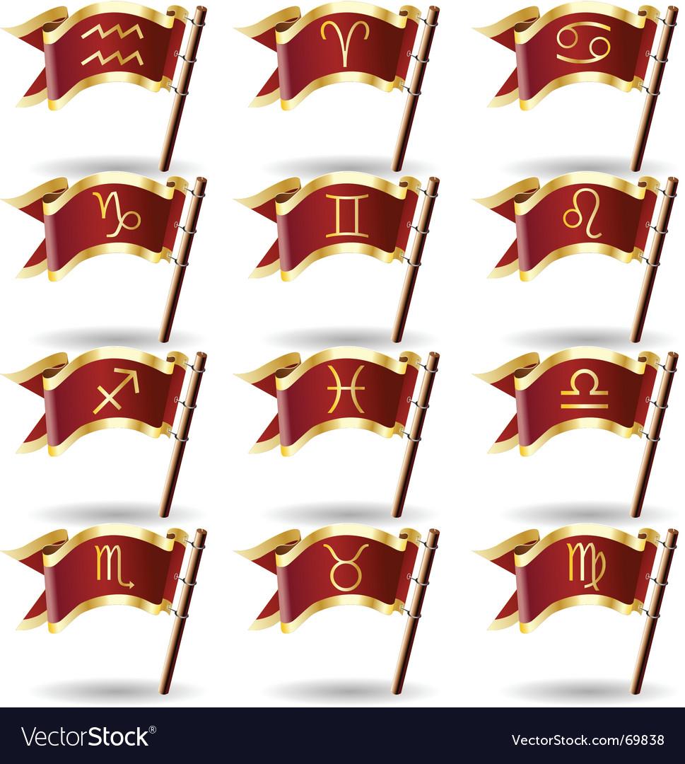 Zodiac astrology symbol flags vector