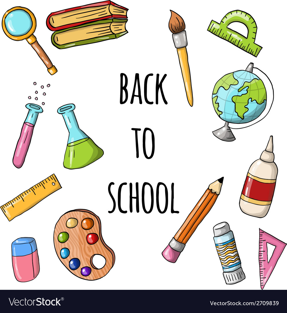Cute sketchy doodle back to school icons vector