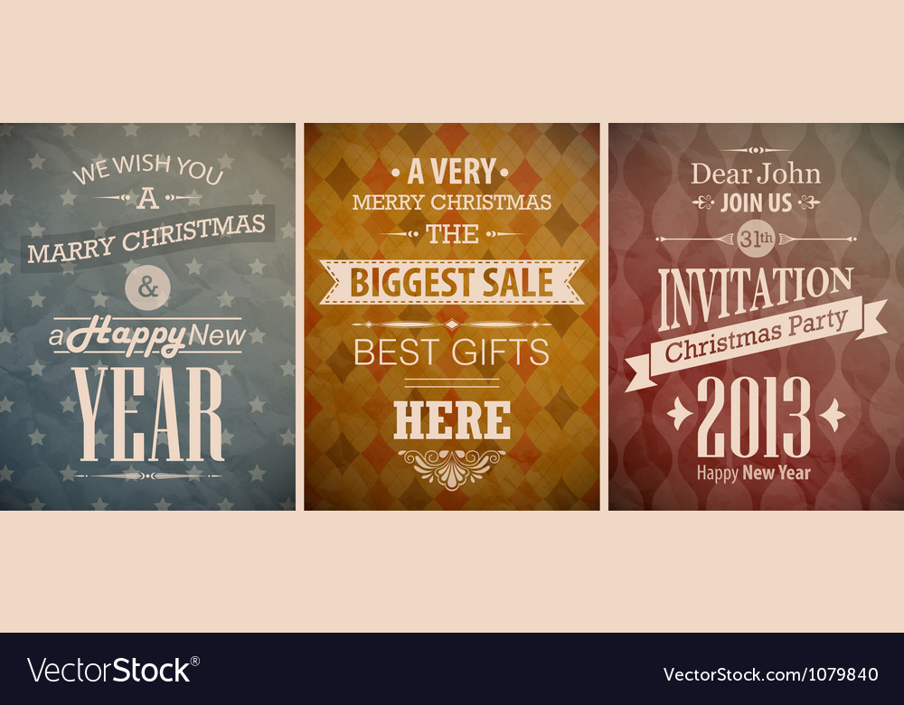 Christmas vintage set retro greeting cards vector