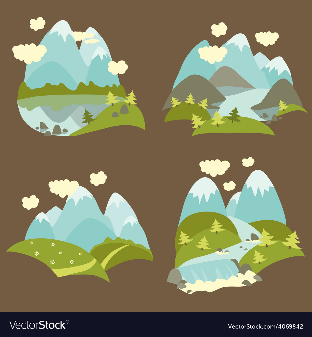 Mountain landscape icons set vector