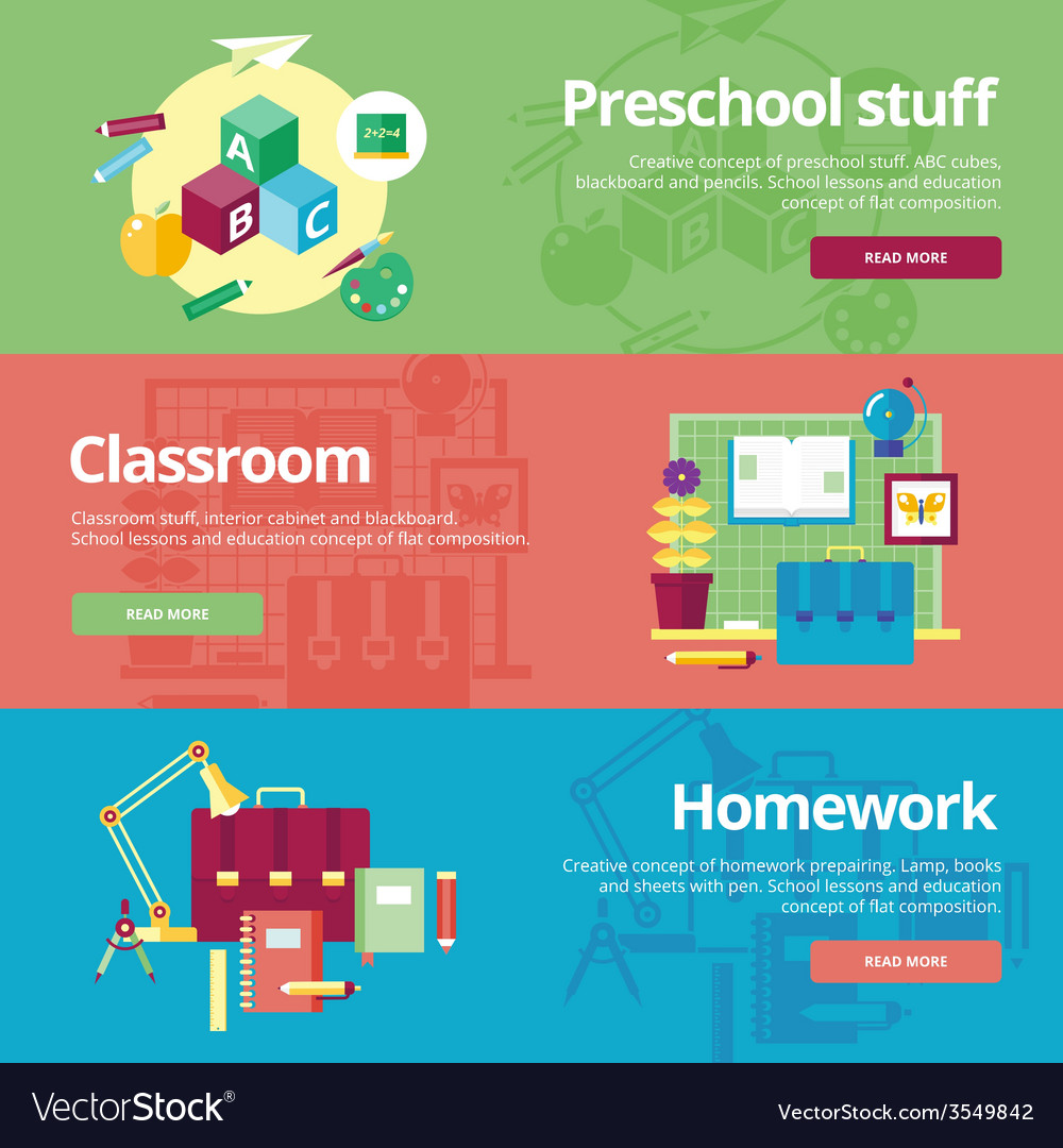 Set of flat design concepts for preschool vector