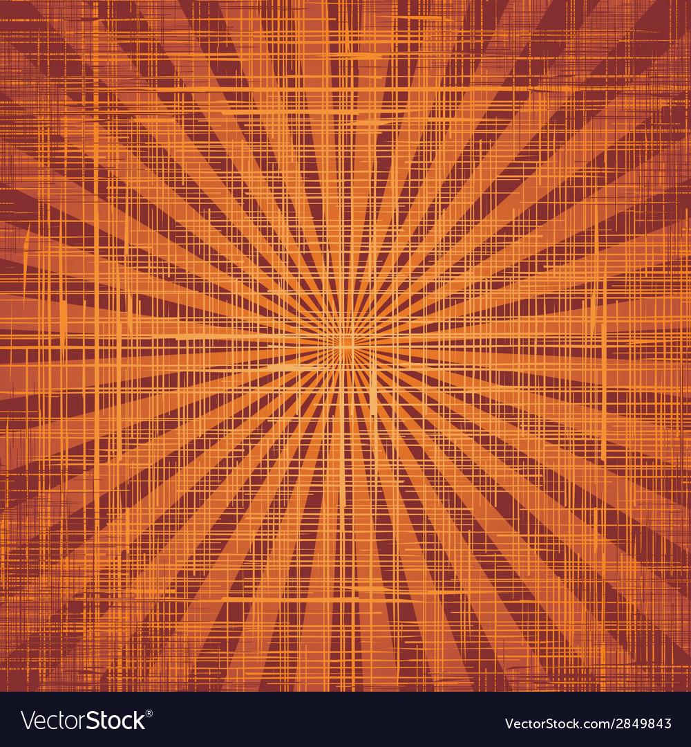 Sun with rays on grunge cloth texture vector