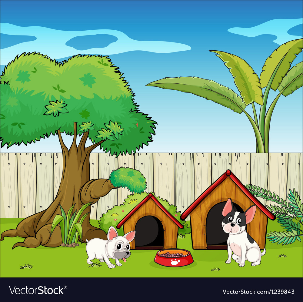The two cute dogs vector