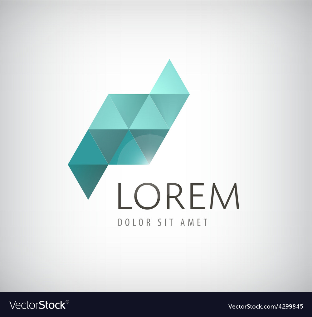 Crystal abstract icon vector