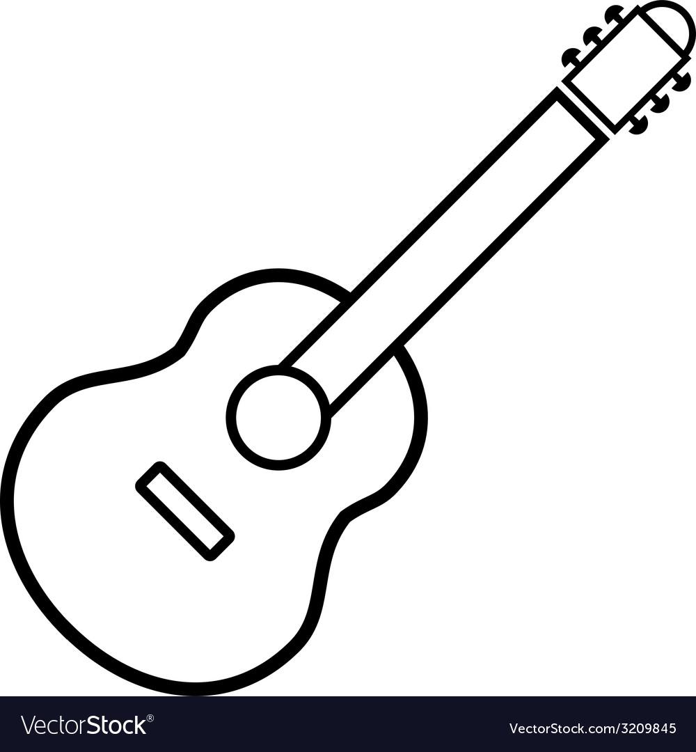 Guitar sign button vector