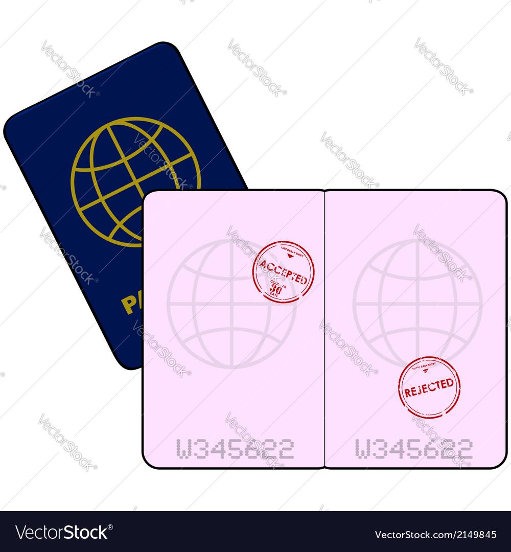 Stamped passport vector