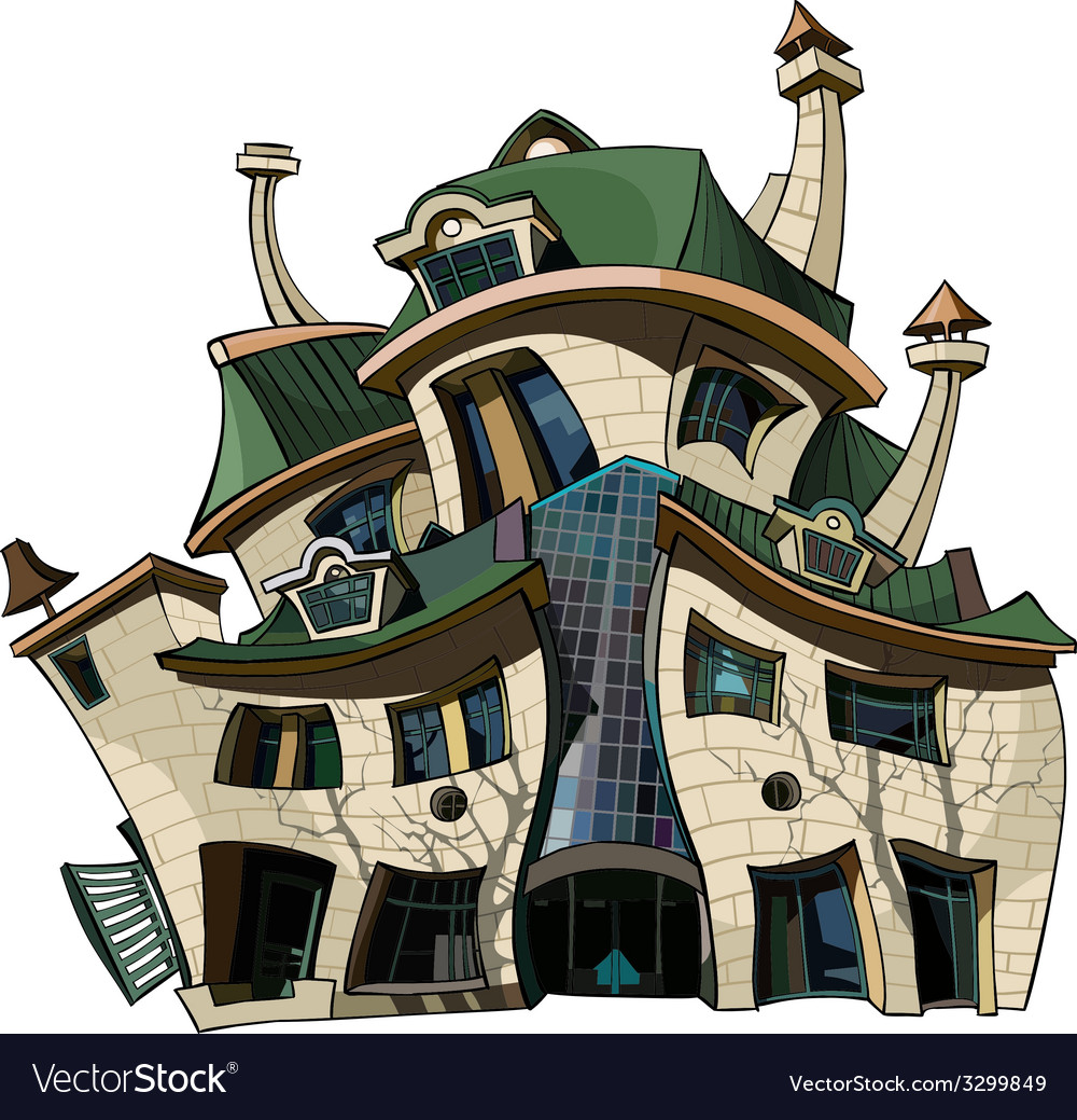 Cartoon house curve vector