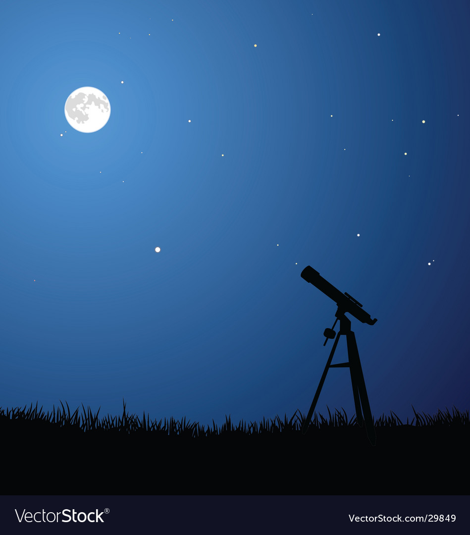 Star gazing with full moon vector