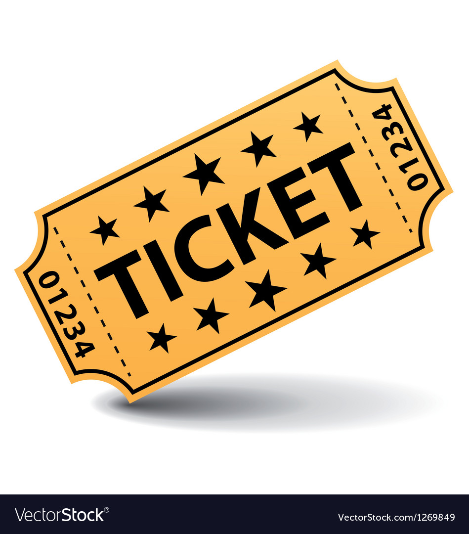 Yellow ticket with stars vector