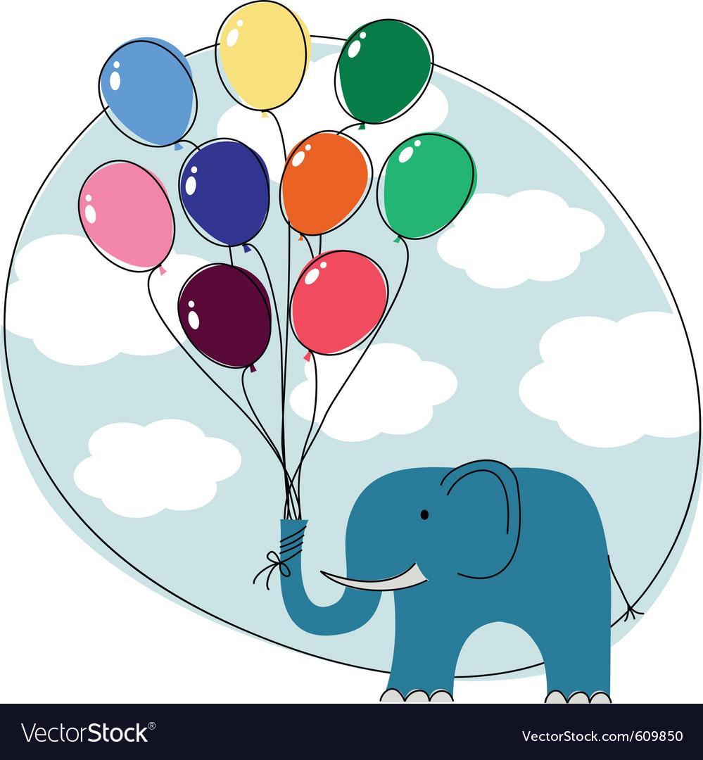 Elephant balloons vector