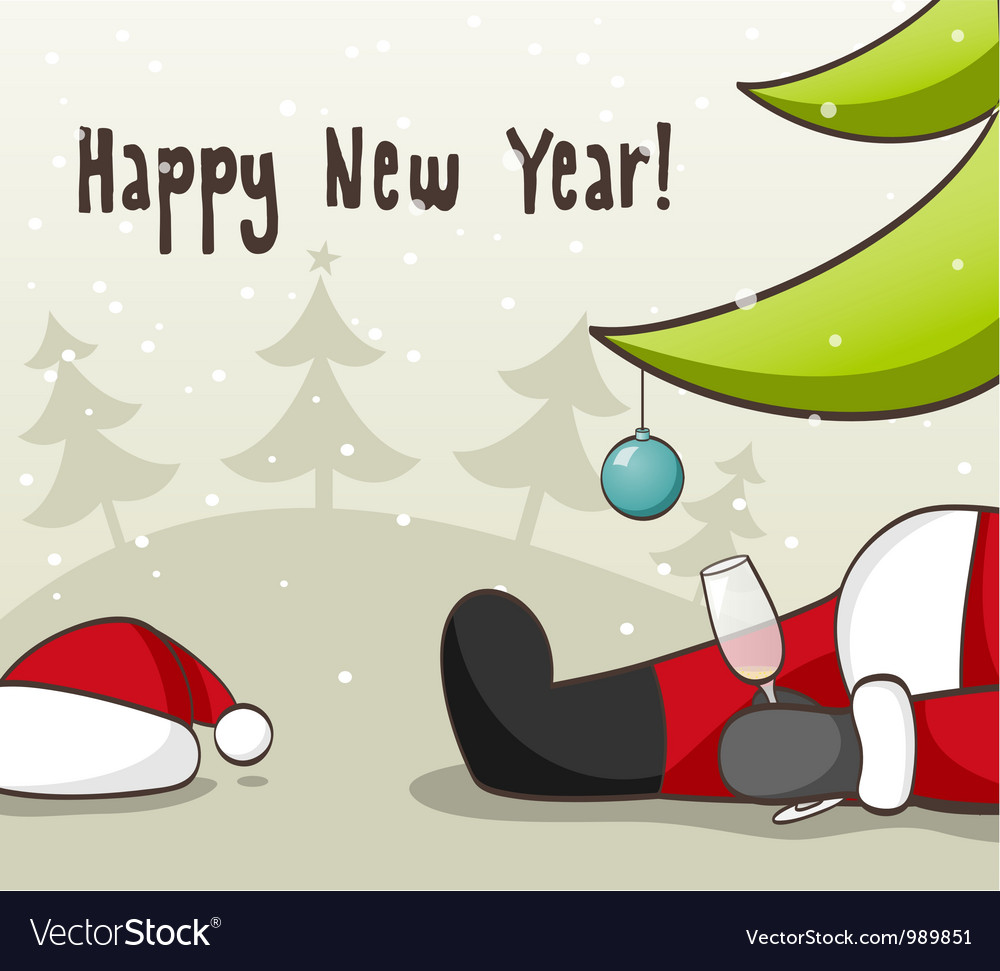 Drunk santa claus vector