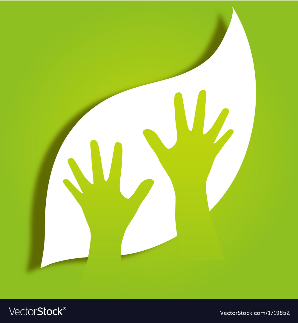 Hands caring leaf vector