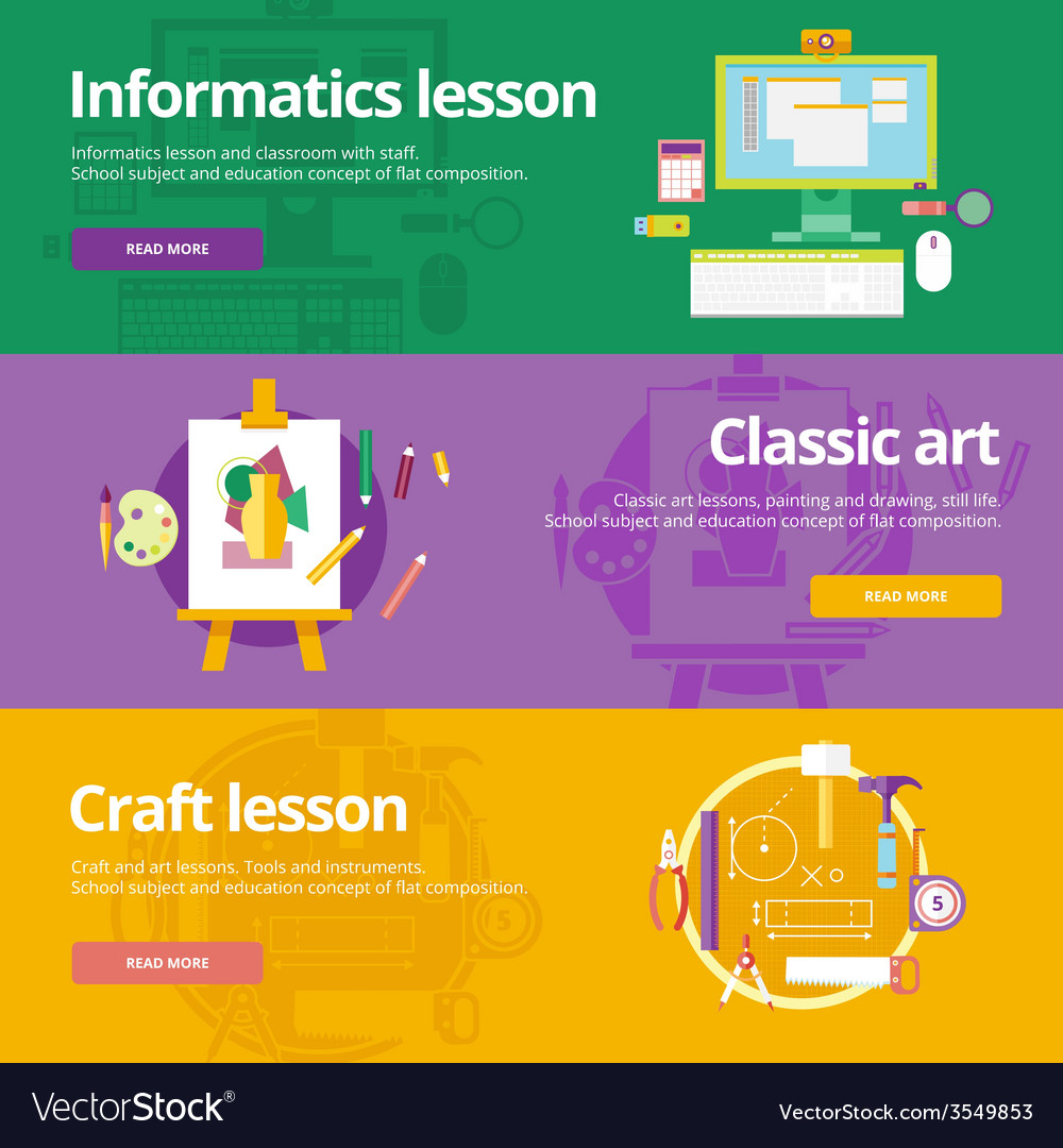 Set of flat design concepts for informatics vector