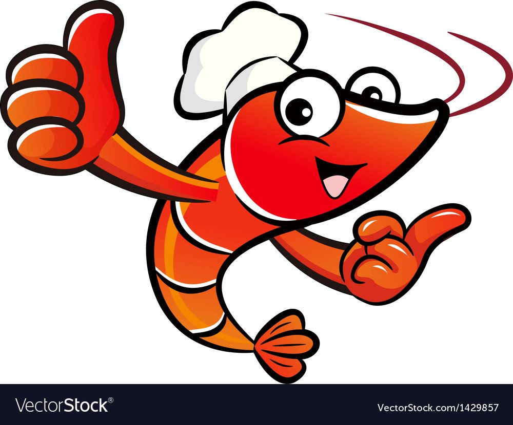 Shrimp chef mascot the left hand best gesture and vector