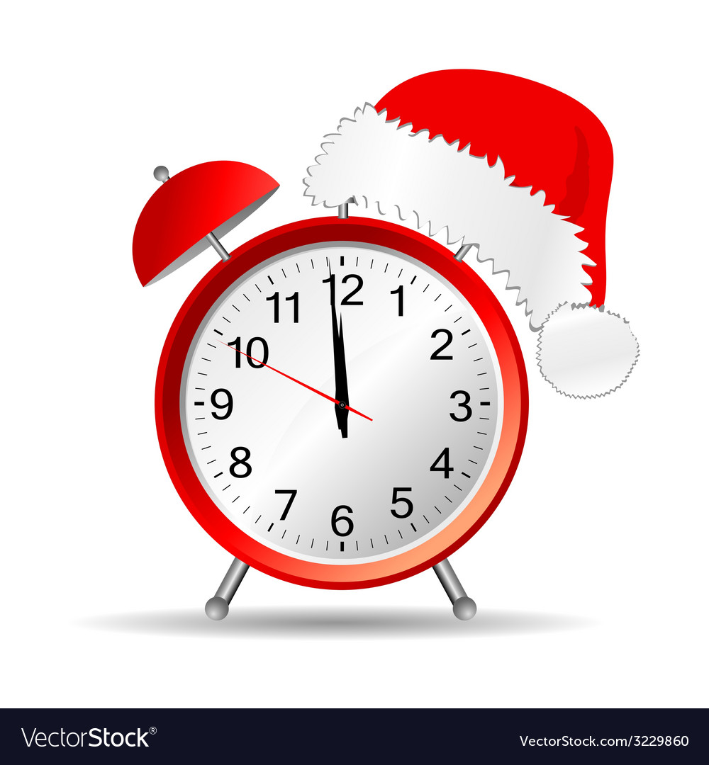 Hour with a red new year hat vector