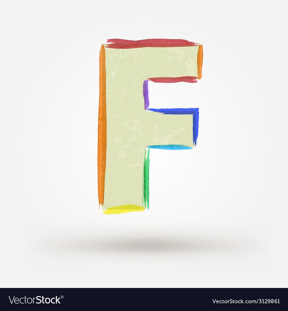 Alphabet letter f watercolor paint design element vector