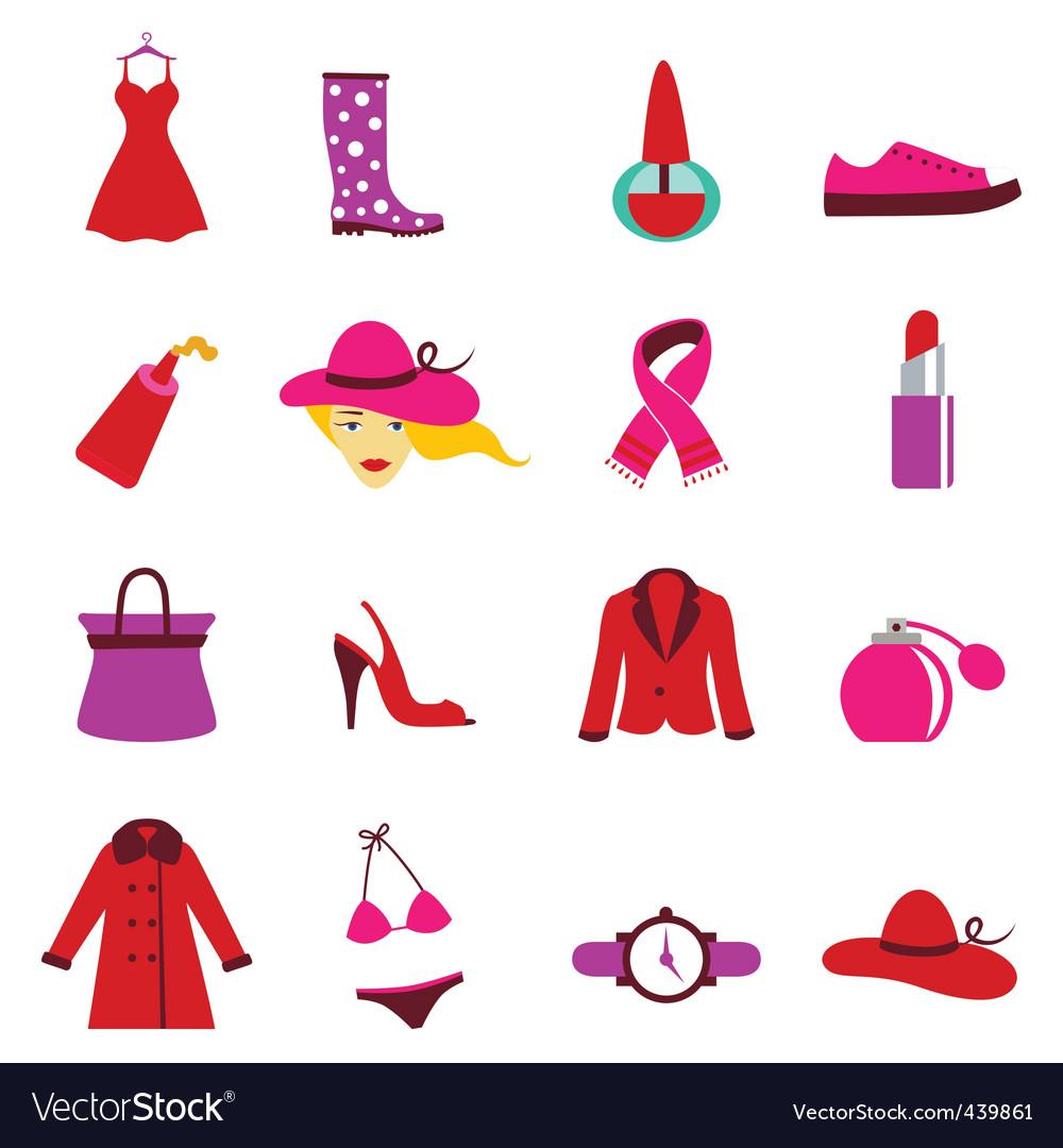 Fashion woman icons vector