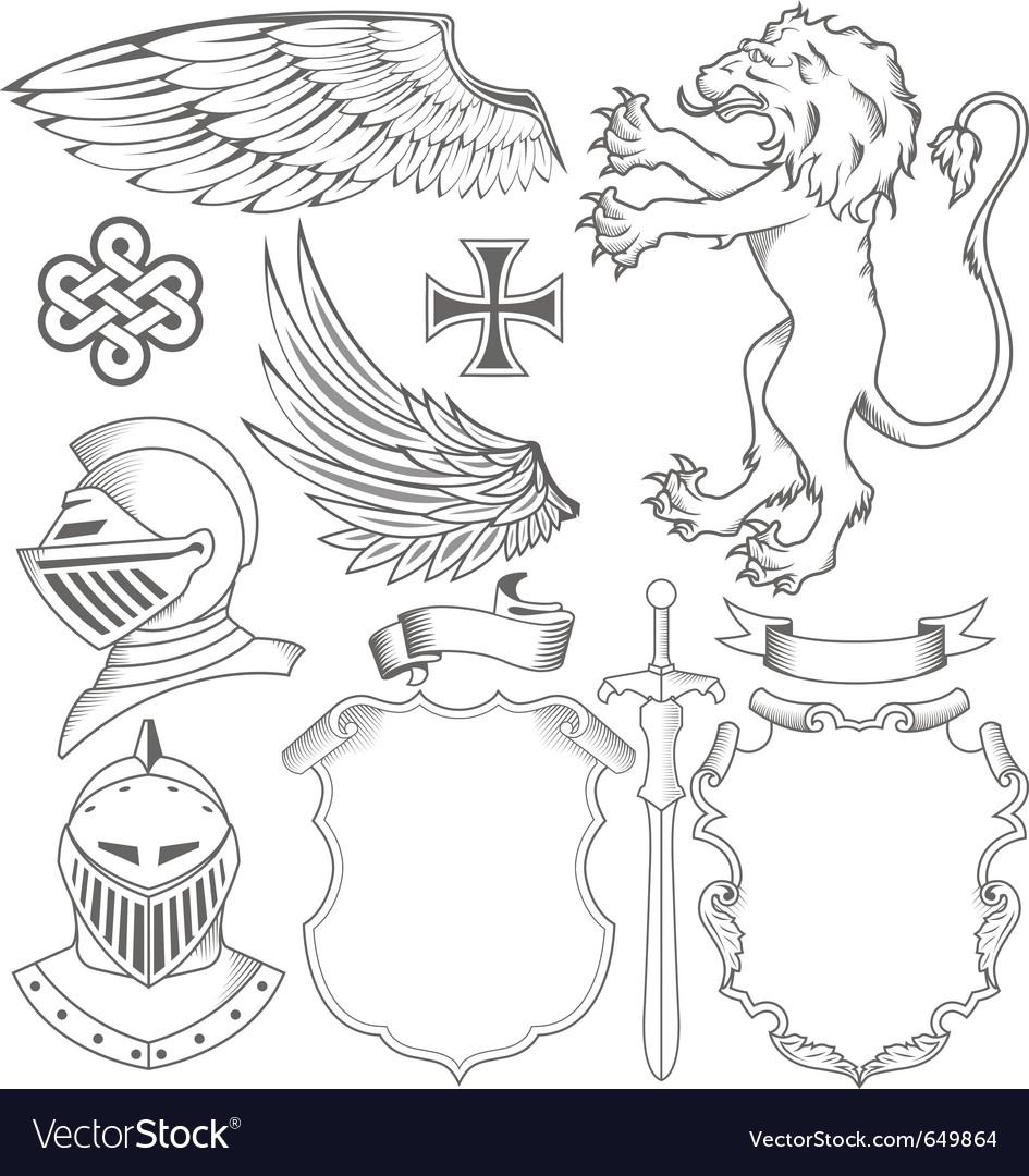 Set of knight heraldic elements vector