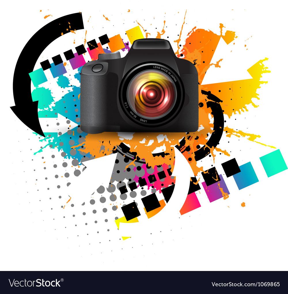 Modern digital camera vector