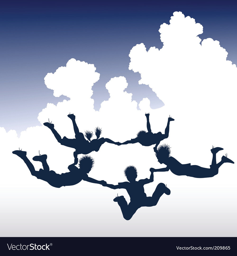 Skydiving children vector