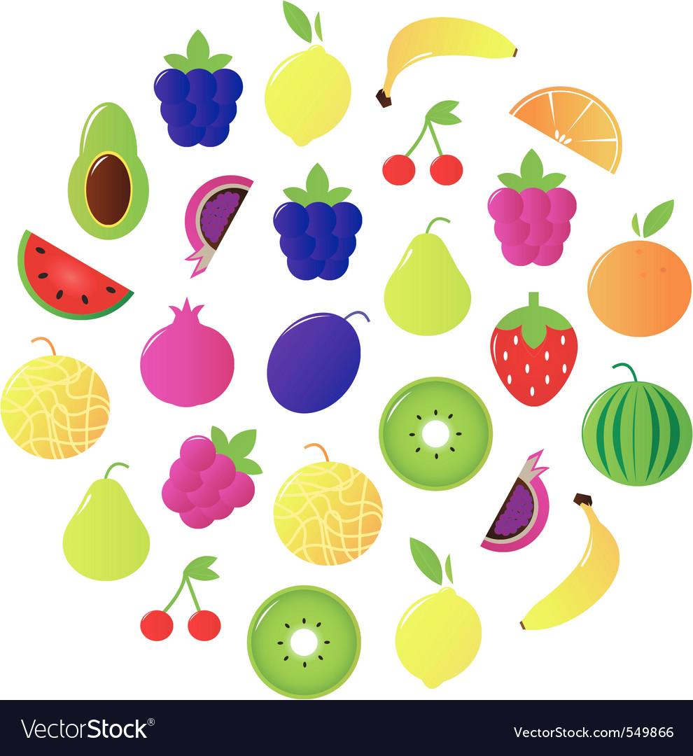 Fresh fruit  berries circle vector
