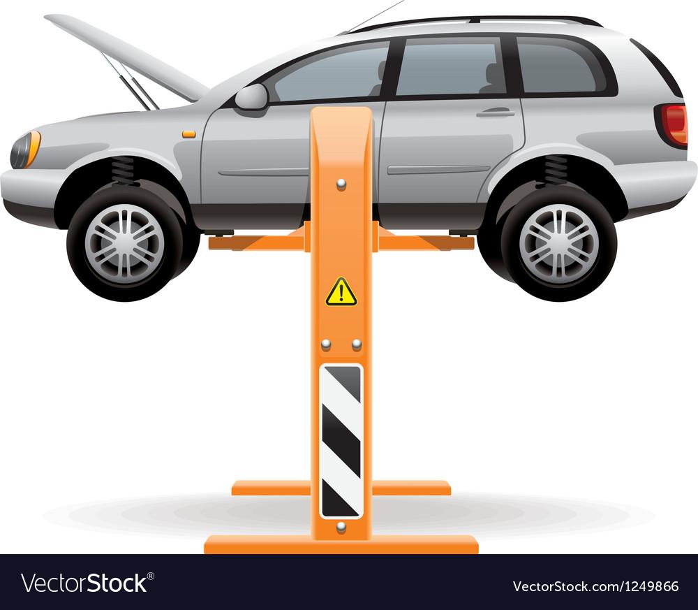 Repair car on a lift vector